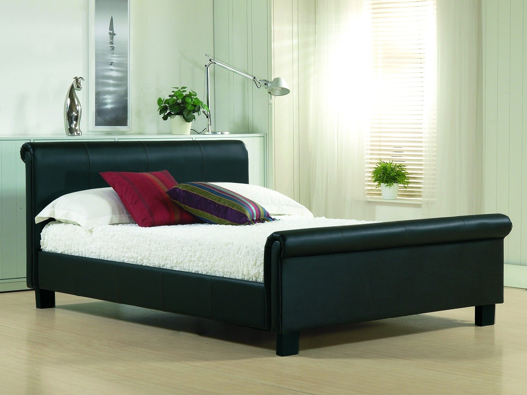 Black Leather Wood Bed Frames With Boxspring Double Click On Above Image To View Full Picture
