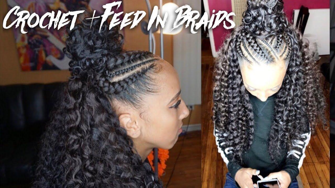 Half Up Half Down Crochet Braids Video Braided Half Up Braids With Weave Black Hairstyles Crochet