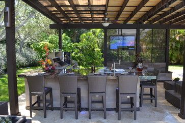 Outdoor Kitchen And Pergola Project In South Florida Traditional Patio Miami Luxapatio Outdoor Kitchen Patio Outdoor Shutters