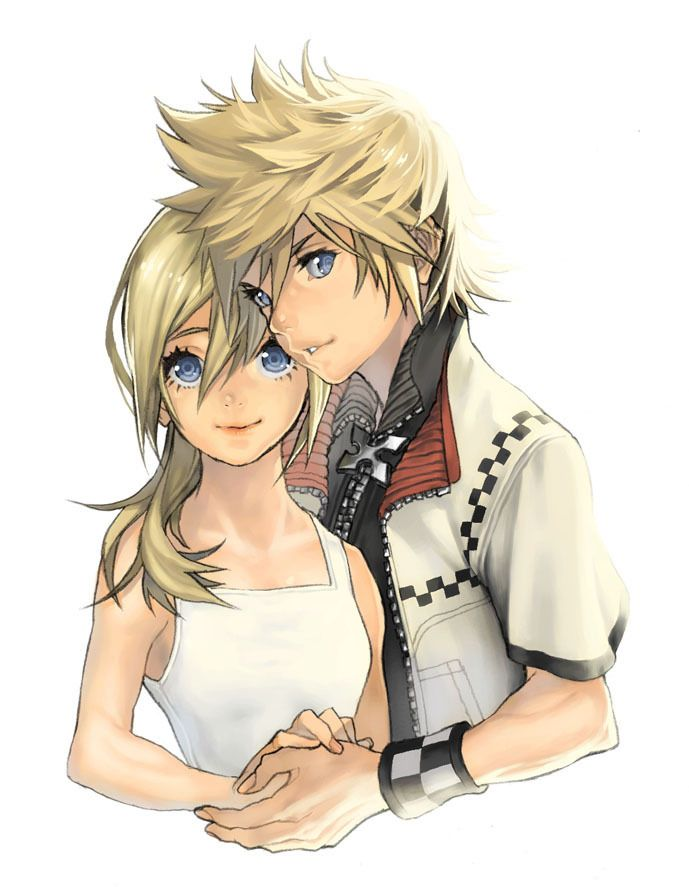 Kingdom hearts sora and kairi and roxas and namine drawing
