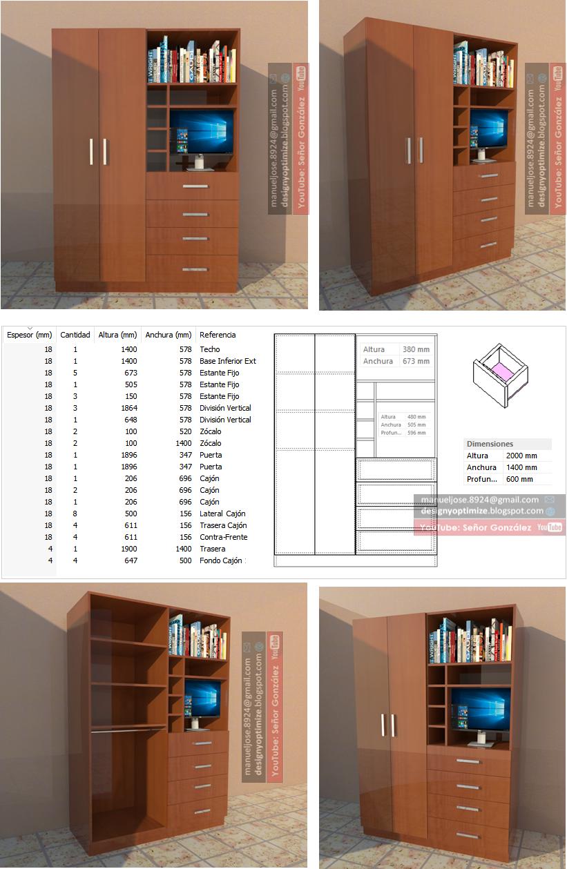 Diseño De Muebles Madera: Crear Placard o Closet Con Espacio Para TV ...
