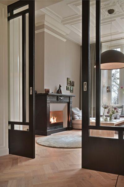 Historie living dining room pinterest maison salon - Living room sliding doors interior ...