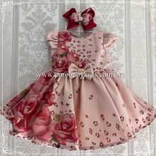 a501ffc12e Vestido Infantil Jardim Rosas Petit Cherie