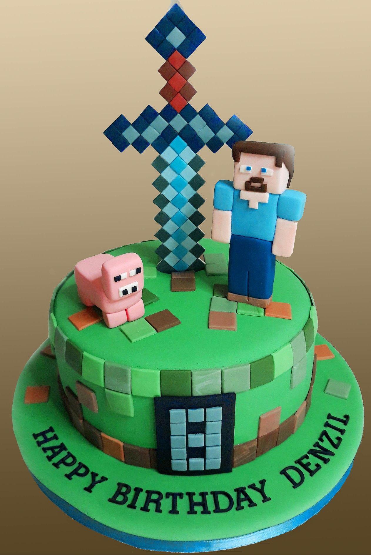 Fondant Minecraft Cake Minecraft Cake Minecraft Birthday Cake