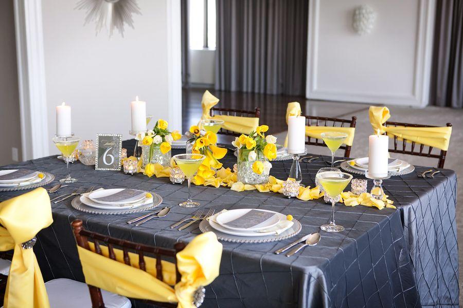 Modern Yellow & Slate Wedding Inspiration | Yellow weddings, Place ...