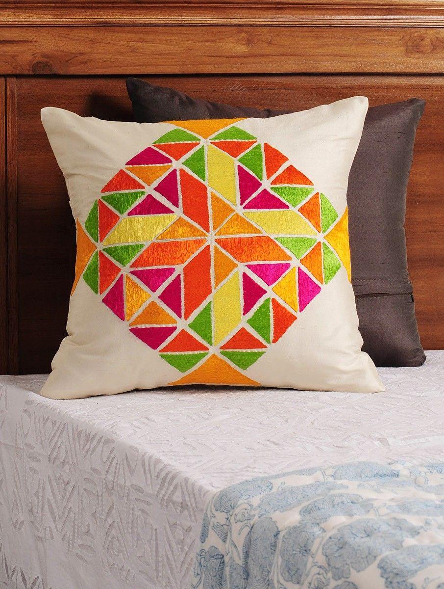 7932feceaec53 Cream - Multi-Color Phulkari Embroidered Silk Cushion Cover 16in X ...