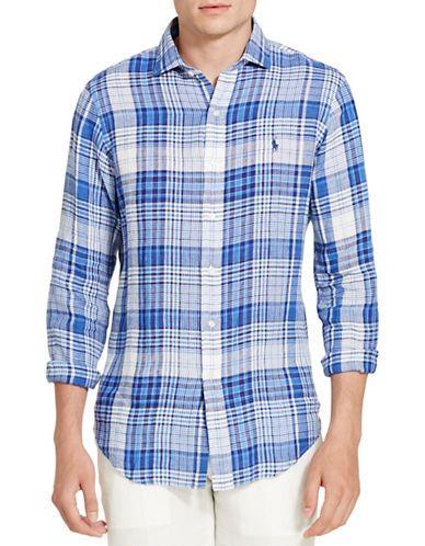Plaid Small Polo Linen Shirt Lauren Bluewhite Ralph Sport Men's 1JlKFc