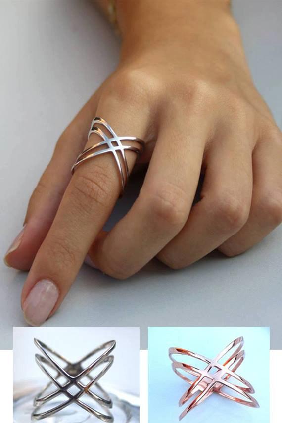 Criss Cross Ring Sterling Ring Thin Ring Cross Ring X Ring Thin Band Delicate Ring Cross Over Ring Minimalist Ring