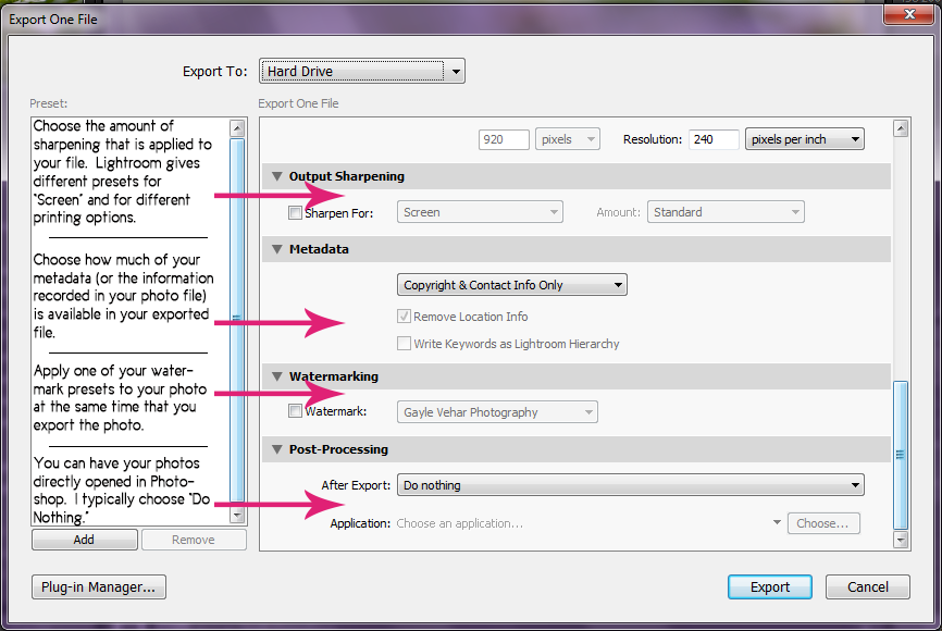 Lightroom export settings for large prints