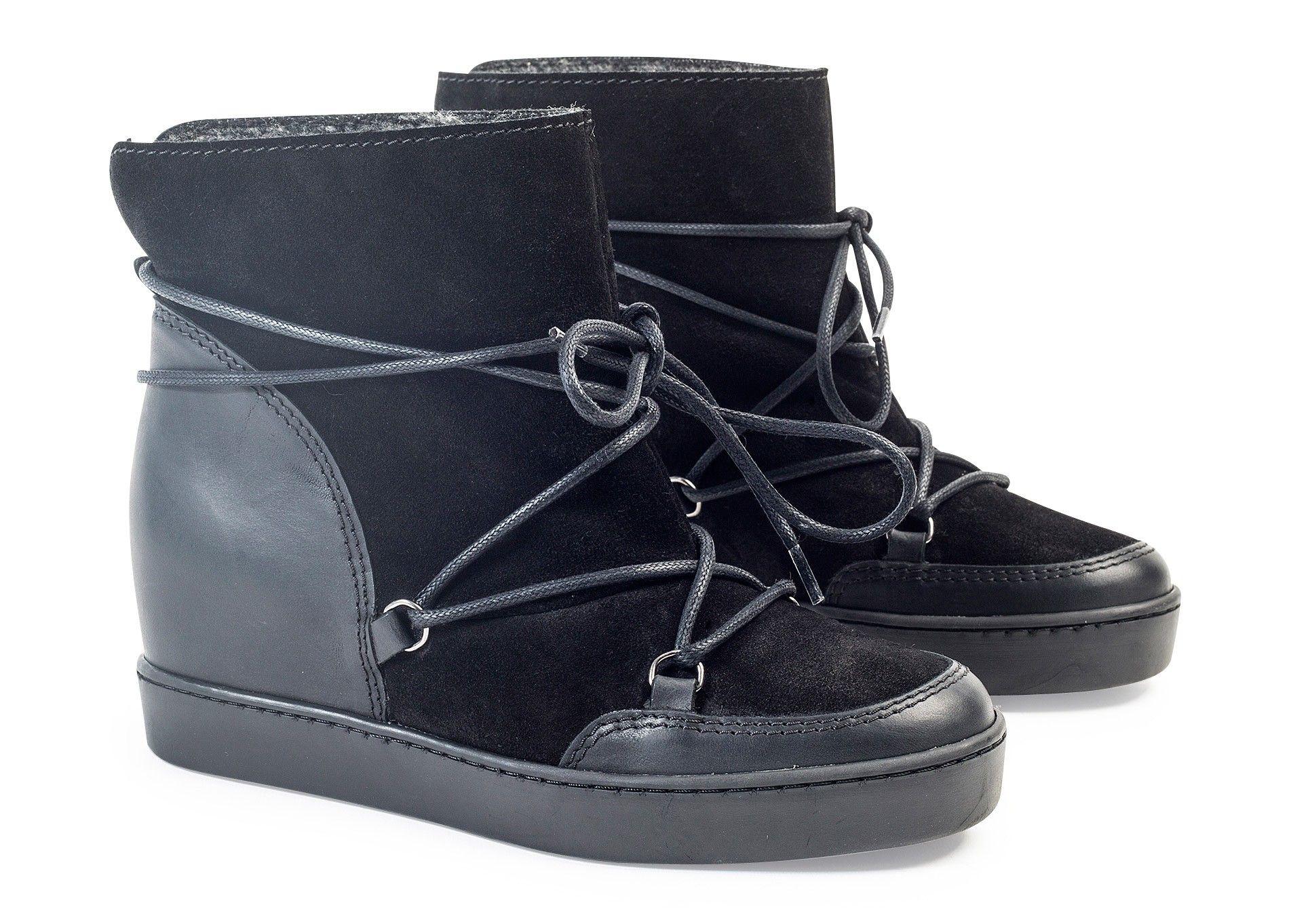 Chaussures À André Compensées Lacets Boots Fourrées xfawY