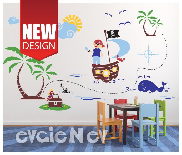 Perfect Pirates Wall Decals Large Decal Set Of Pirate On A By EvgieNev, $170.00