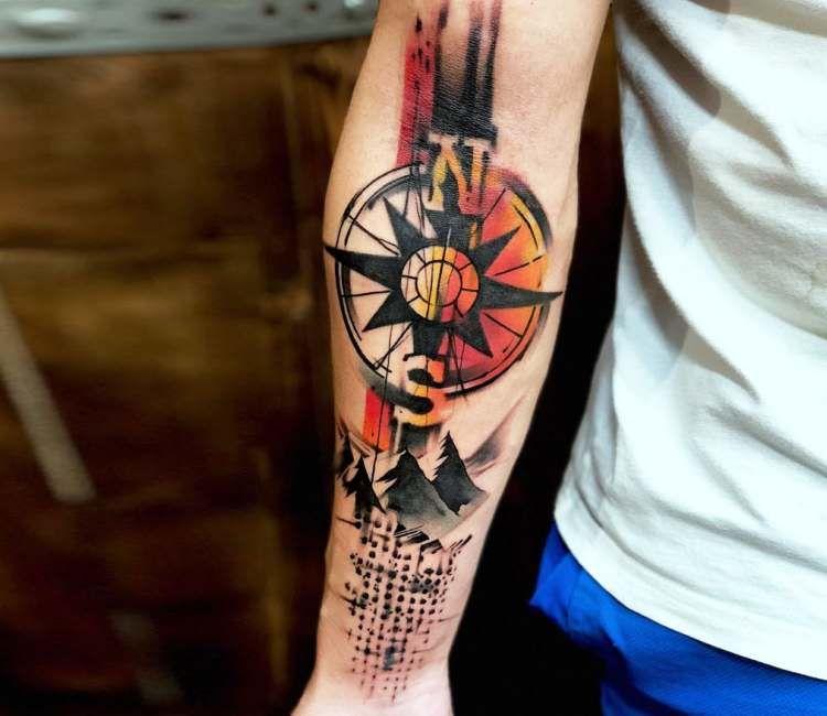 Compass Tattoo By Rich Harris Con Imagenes Hombres Tatuajes Tatuajes Tatuaje Cartas