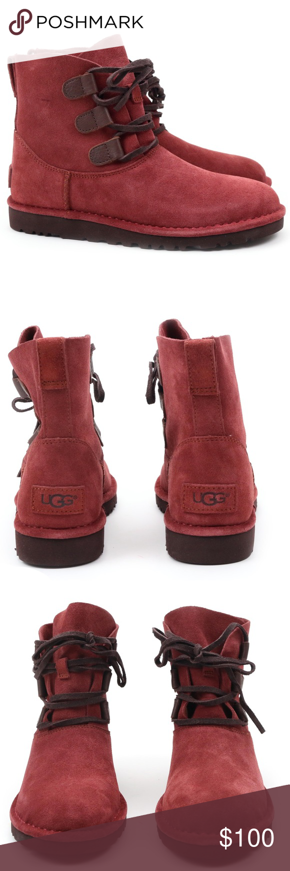 6afd6bbc72c UGG Elvi Red Clay Suede Combat Ankle Boots 🔥 Brand new! These are ...