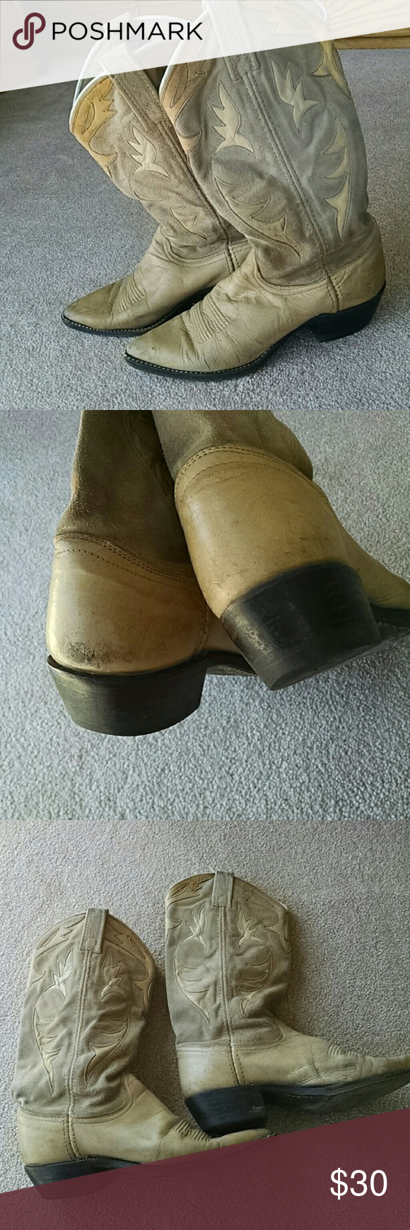 Dan Post boots Funky old Dan Post I bought in Carmel CA back in late 80s. Loved them to death! Lived on ranch so they were well used but if you like good leather quality buy em cheap! Lots of cowgirl life left in em. Marked 6.5 but I wore 7 n ok. Dan Post Shoes Heeled Boots