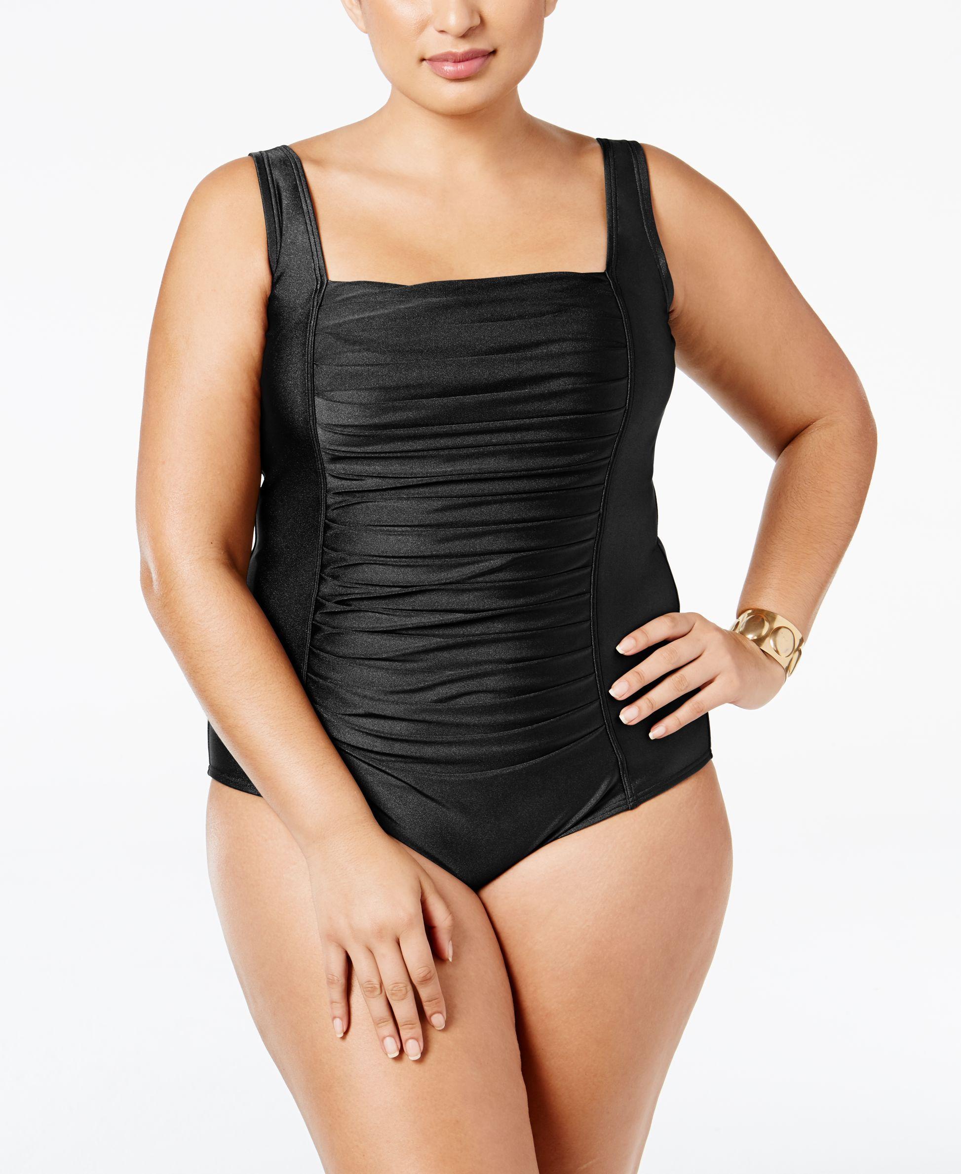 e339dda3d9 Calvin Klein Plus Size Ruched One-Piece Swimsuit