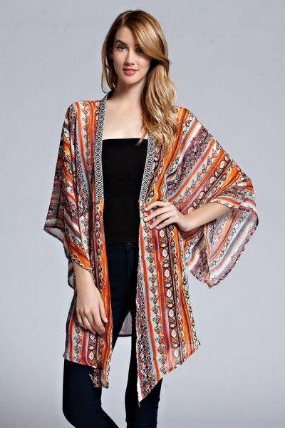 Hot item for the fall! Kimono cardigan, gorgeous print, black ...