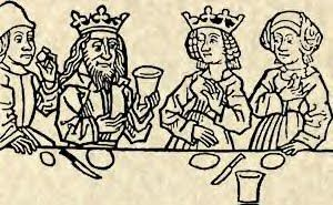 """Tudor Era Table Manners-DON'T-put your fingers in your ears/nose;  put your hands on your head (avoid contact with lice and dandruff, in public);  blow your nose with your hands;clean your nose with your clothes or with the table cloth; (men) refrain from """"scratching"""";  release winds during the meals;   """"fuss around"""" the dishes/trenchers looking for the best piece of meat; put bones back on the dishes/trenchers, throw them on the floor."""
