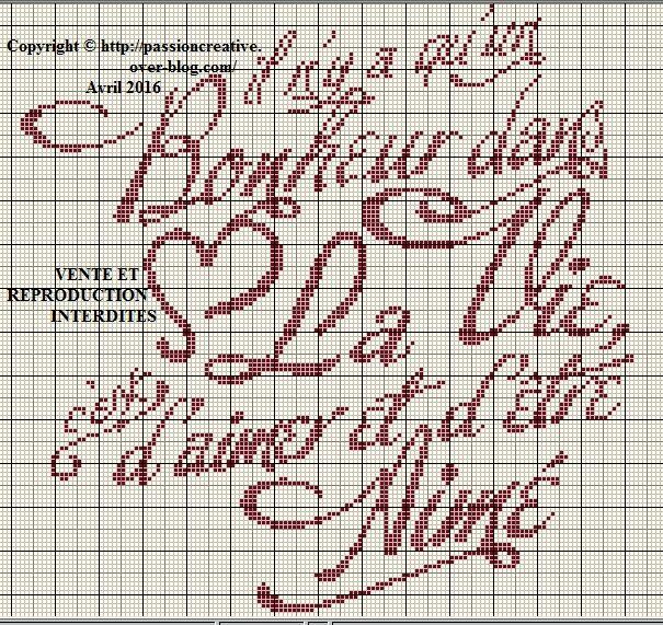 Grille gratuite point de croix il n 39 y a qu 39 un bonheur - Grille point de croix gratuite a imprimer ...