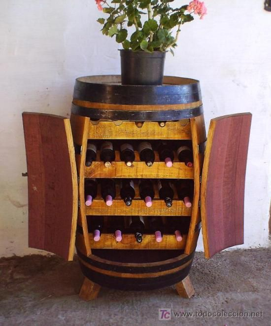 Botellero barrica de vino mueble madera muebles y - Muebles para poner botellas de vino ...