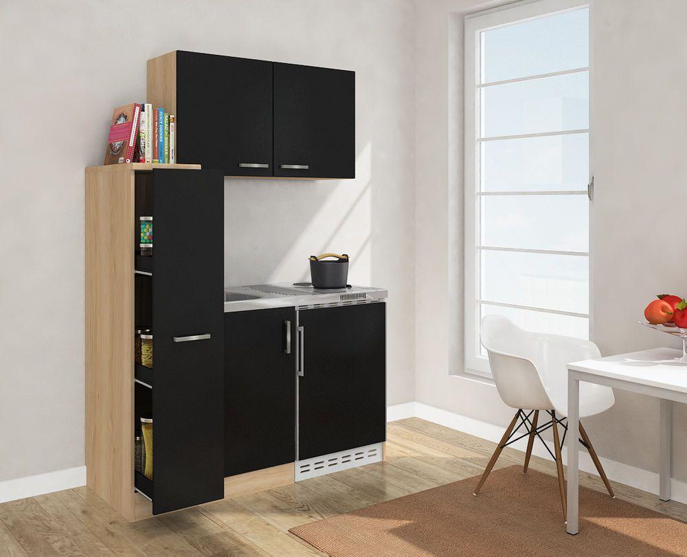 Respekta Mini Kitchen Kitchenette 130cm With Upper Cabinet Oak Rough Sawn  Black