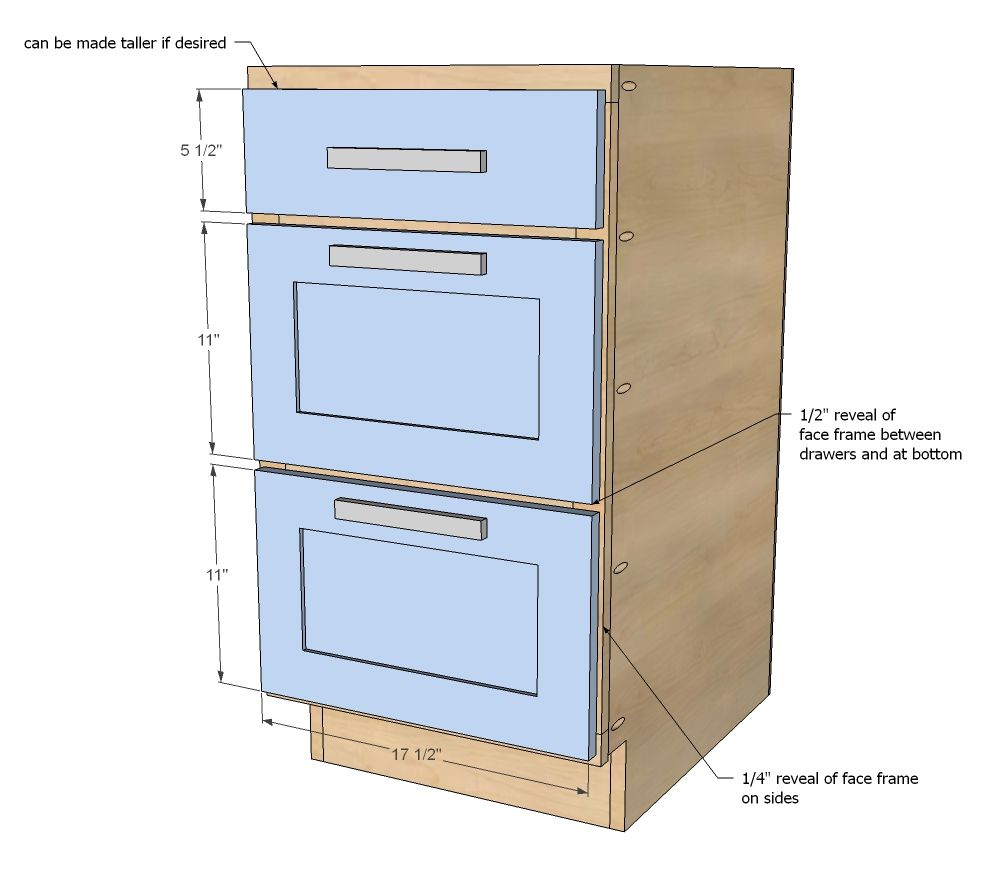 "Build A 18"" Kitchen Cabinet Drawer Base"