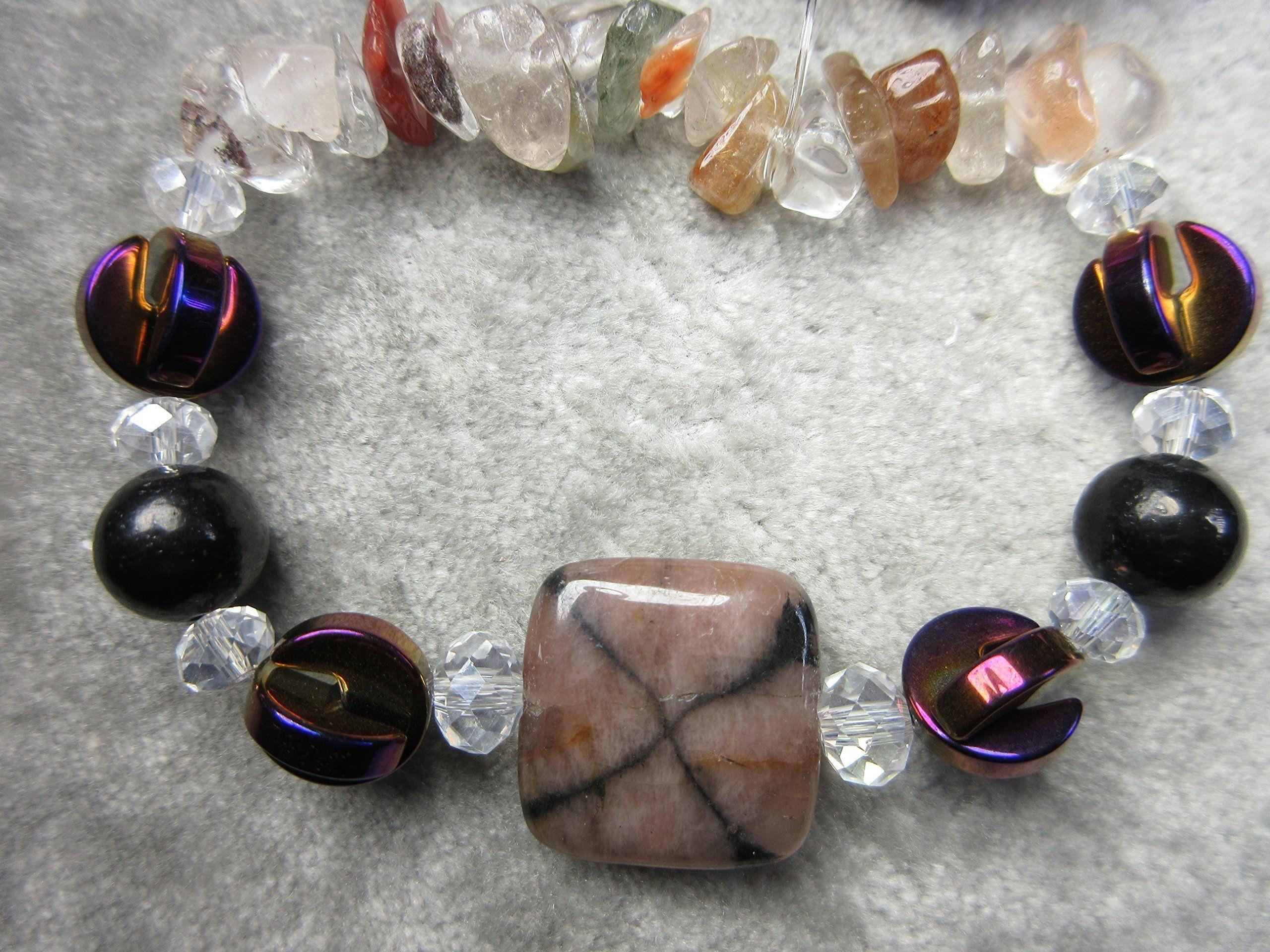 Genuine Shungite, Chiastolite (Andalusite) and Lodolite Healing Bracelet EMF Protection