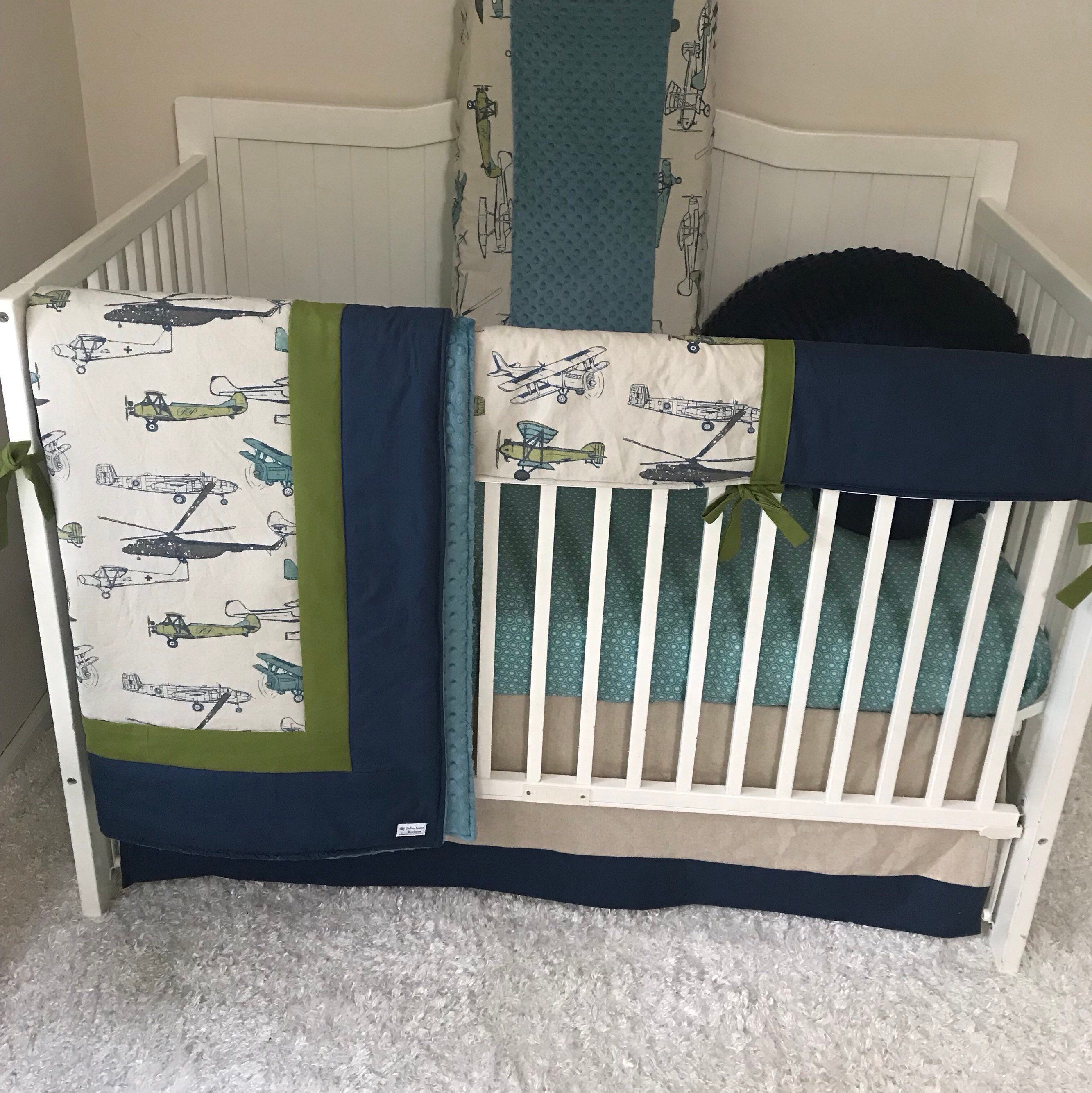 Excited To Share This Item From My Etsy Shop Baby Boy Crib Bedding Set Tan Linen Olive Green Navy Teal Air Airplane Crib Bedding Crib Sets Crib Sets For Boys