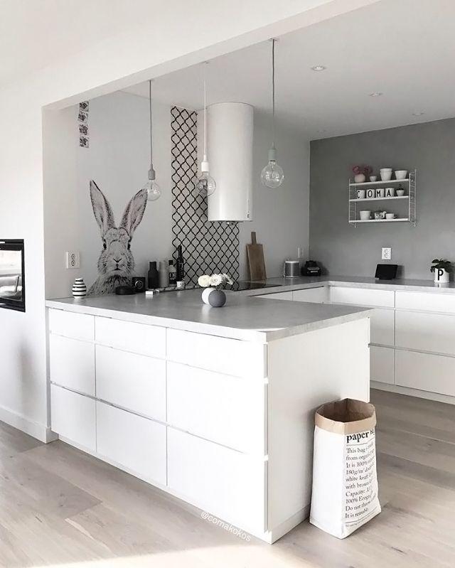 Love this beautiful kitchen! String Pocket shelf and Menu Bottle ...