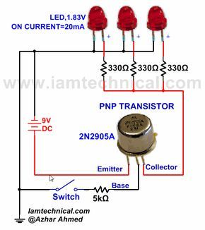 Prime Pnp Transistor With Three Leds As A Switch Iamtechnical Com Wiring 101 Cominwise Assnl
