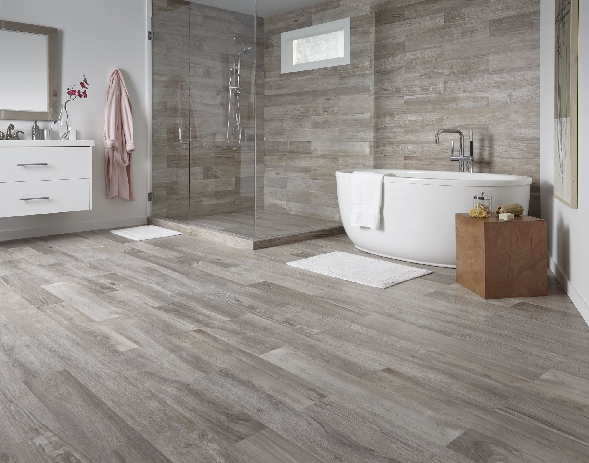 Farina bay oak waterproof wood look tile floors wood for Tile and hardwood floor