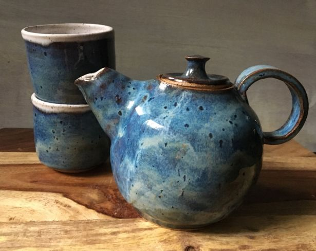 Handmade Rustic Blue Speckled Ceramic Tea Pot 2 Tea Cups Set By Kismet