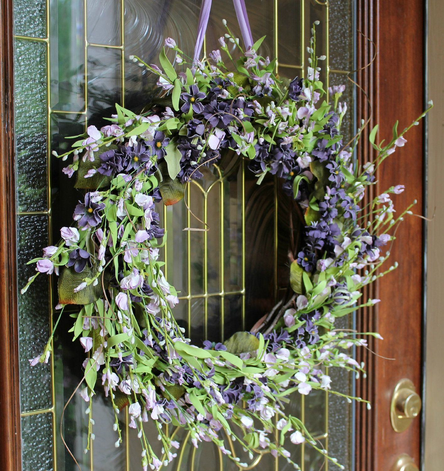 Summer Wreath, Spring Flowers, Summer Door Wreath, Summer Wreath, Lavender  Wildflowers, Wisteria