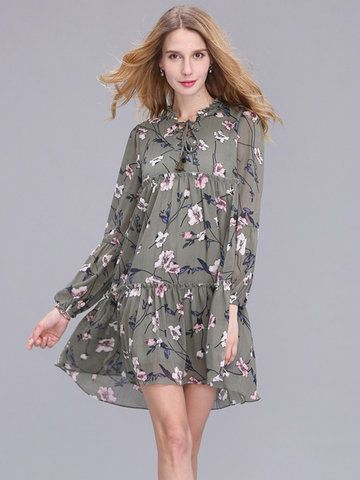 ef76a3d81e95 Elegant Women Floral Printed Long Sleeve Chiffon Dress Mini Dress ...