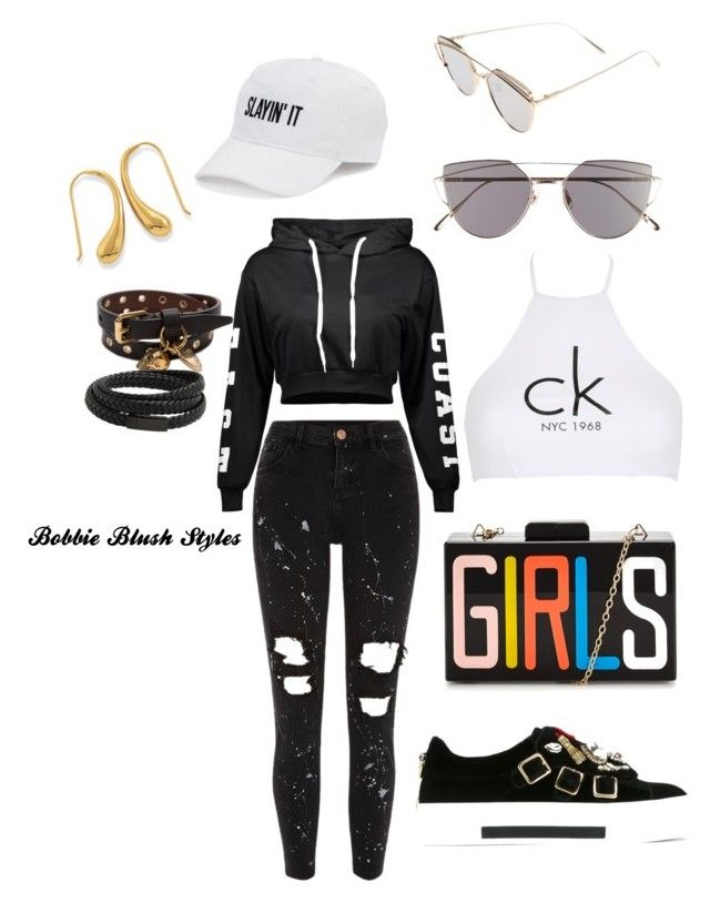 """""""Untitled #89"""" by bobbieblush on Polyvore featuring Gentle Monster, Alexander McQueen, River Island, Calvin Klein, MANGO and SO"""