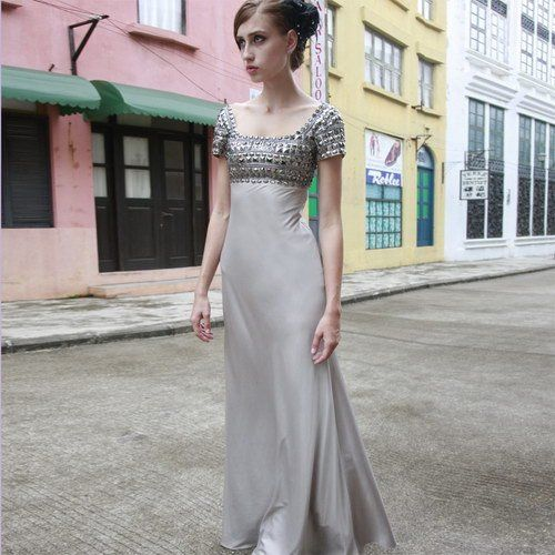 f35cbf6fd0e51 Creative tocsins grey modest prom dresses with sleeves long design ...