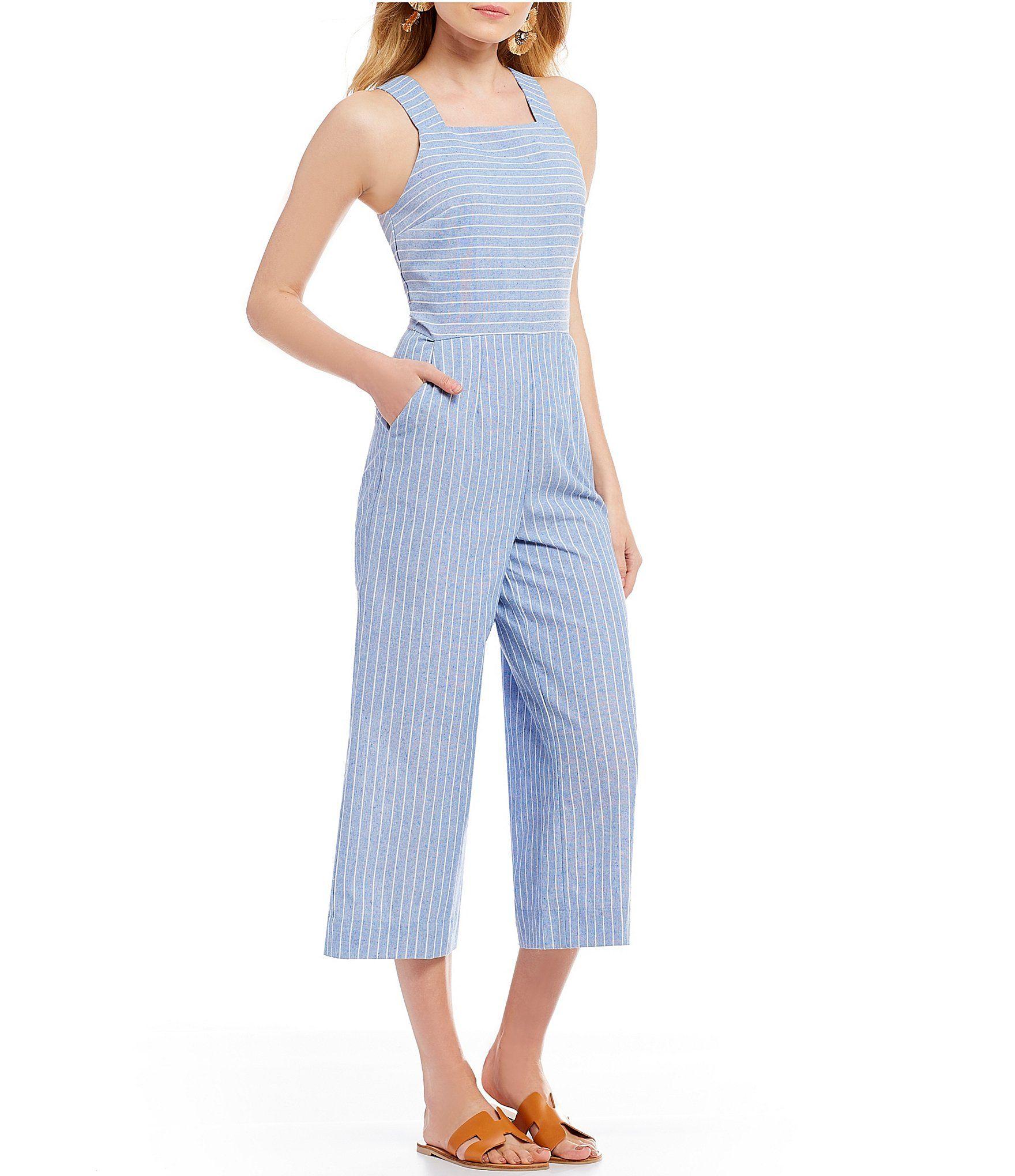 54e7ecf2127 Sugarlips Striped Culotte Jumpsuit  Dillards