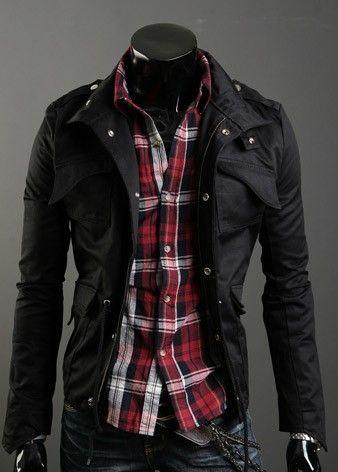 Lapelled Collar Pockets Embellished Long Sleeve Jacket Black i1894352