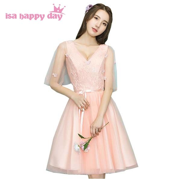 cheap cute short lace up back tulle peach v neck capped sleeved prom ...