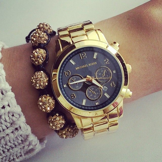 Gold MK watch with gold shamballa bracelet