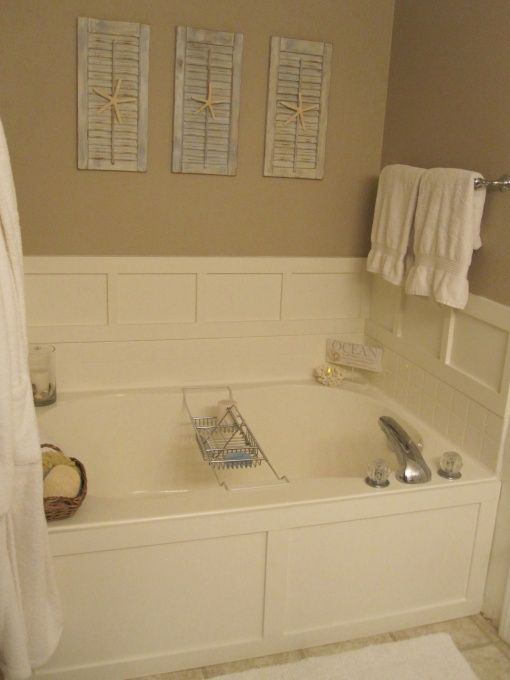 love the board and batten around tub maybe glass mosaic tile in