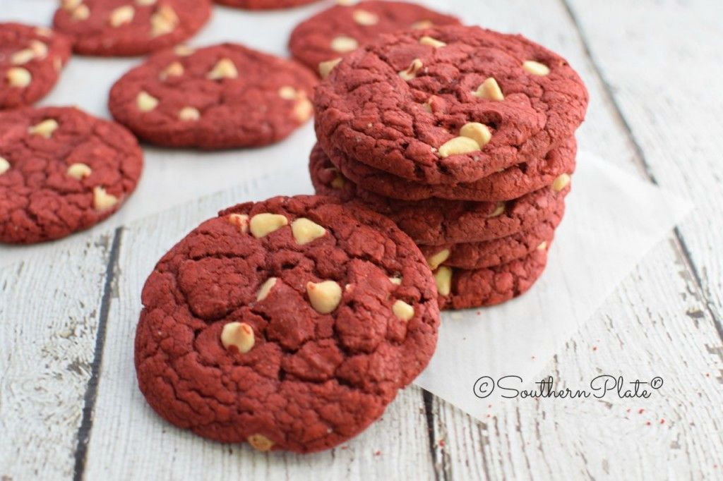 Easiest Red Velvet Cookies - No fuss, no muss, and you end up with big, beautiful, perfectly shaped chewy red velvet cookies studded with white chocolate – with just one dirty bowl, 5 minutes, and a couple of baking sheets.