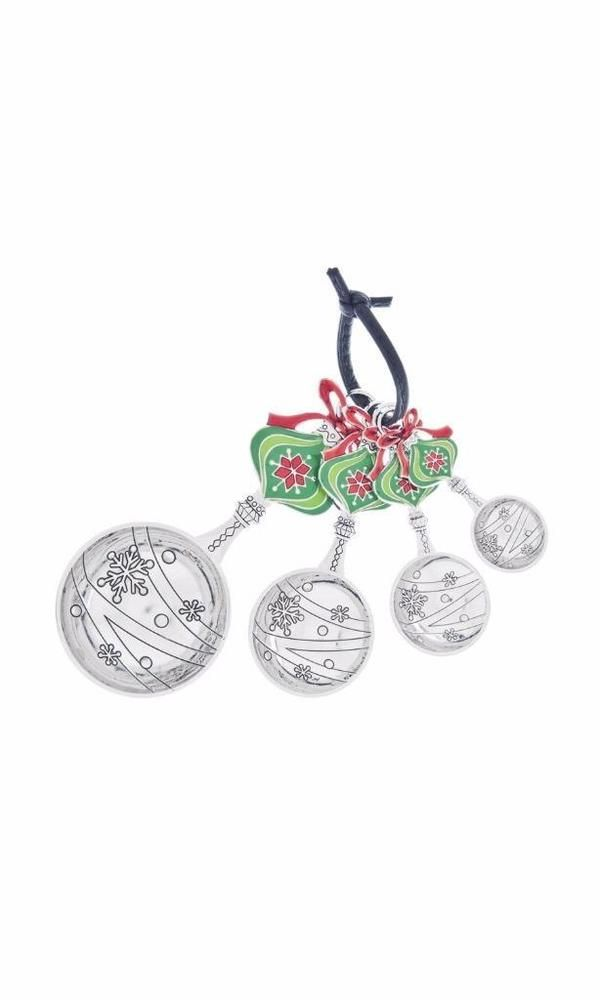 Ganz Holiday Ornament Zinc Measuring Spoon 4 pc Set NIB Red Green Christmas