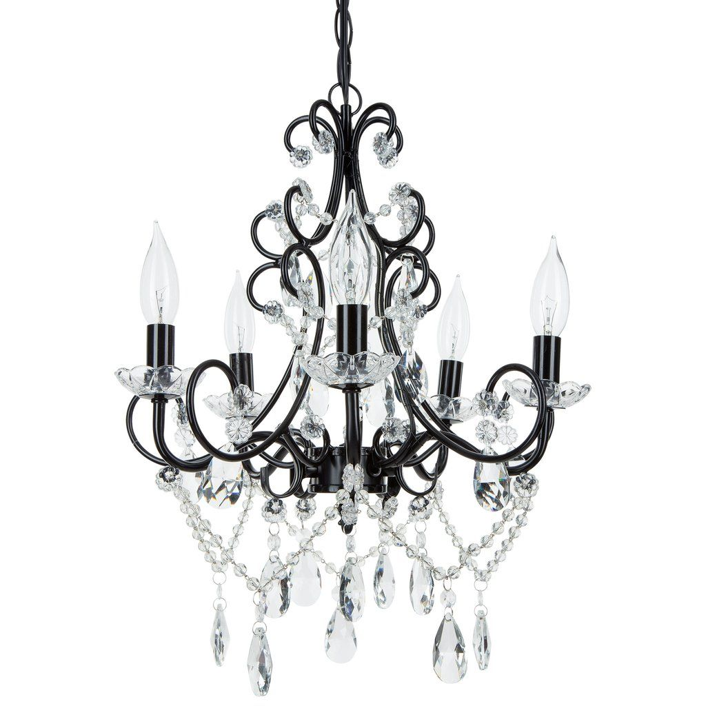 5 light classic crystal plug in chandelier black candelabra black chandelier aloadofball Gallery