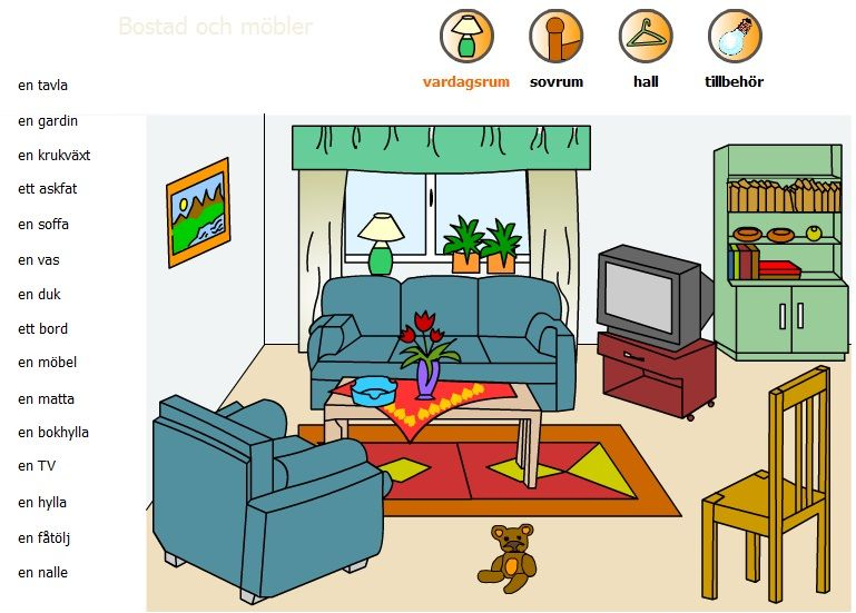 Swedish vocabulary living room svenska ord for Living room vocabulary