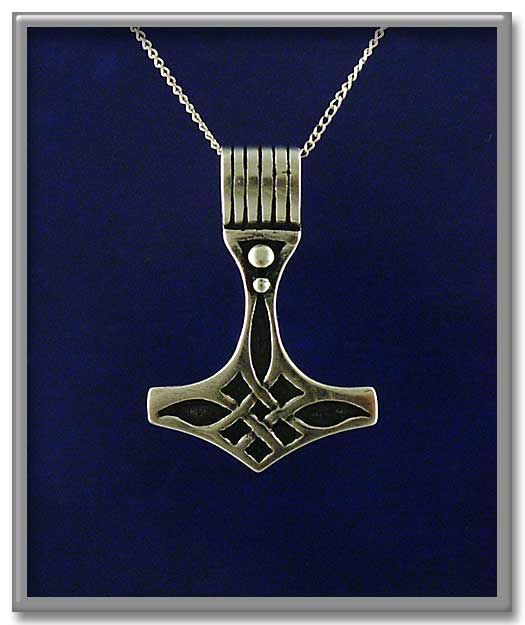 "Celtic Thor's Hammer Pendant - A simple Celtic knot forms the body of this unusual Thor's Hammer. Also has a larger than usual hole. Approximately 1-1/8"" tall. Includes 18"" Sterling Silver chain."