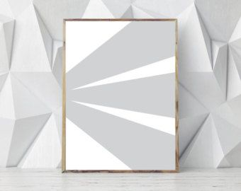 Minimalist Modern Prints Geometric Wall Art Abstract Print Gray White Dec