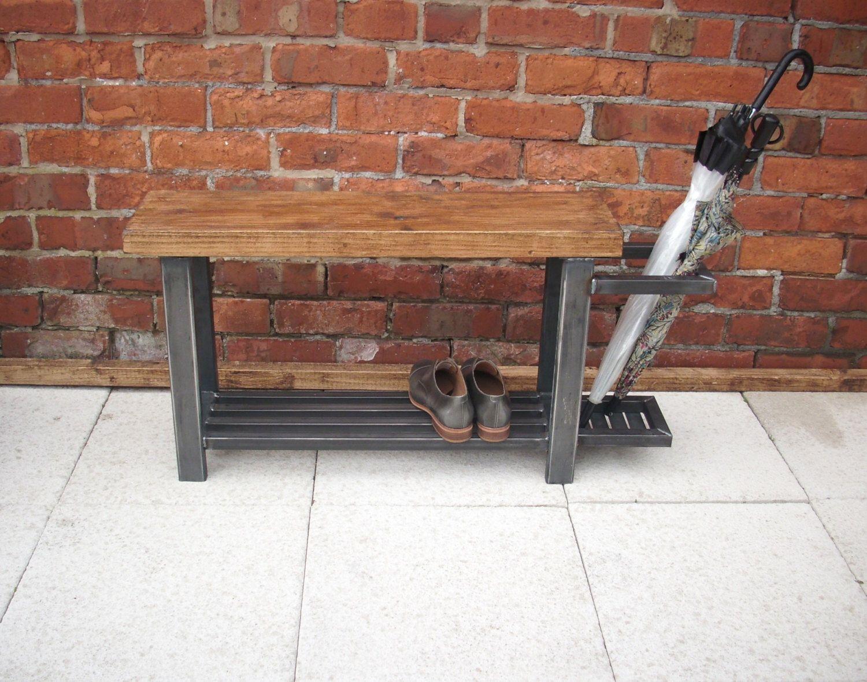 Hallway storage stand  Hallway bench with shoe storage to base u umbrella stand to side