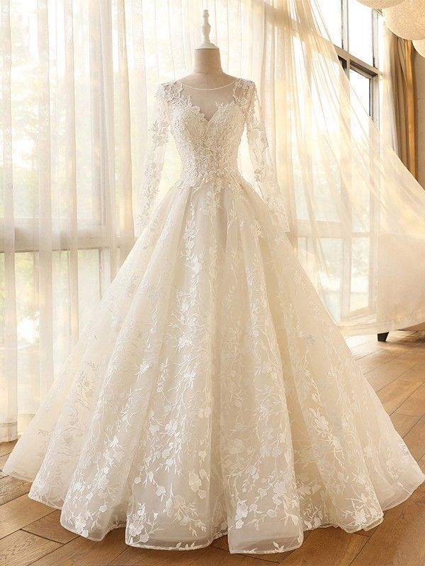 long sleeve A-line Vintage Robe De Mariage Special Lace Design Tulle Sleeves Wed… – weddingdresses