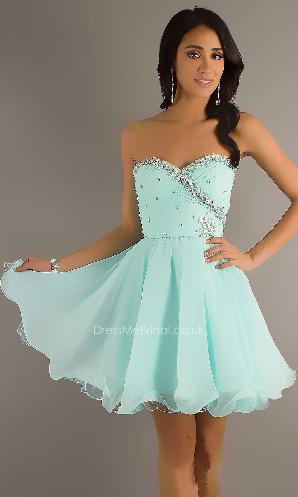 baby blue beaded chiffon strapless a-line short cocktail dress ...