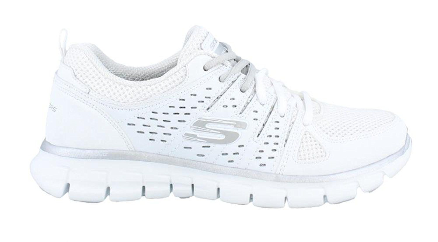 Women's Skechers, Look Book Running Sneakers WHITE SILVER M. Women's  Skechers, Look Book Running Sneakers. Add some fun sporty style to your  wardrobe!
